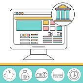 Online banking thin line theme, flat style, colorful, vector icon for info graphics, websites, mobile and print media