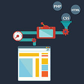Process of creating site. Process coding and programming. Design and programming vector illustration