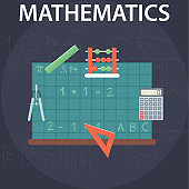 Set of flat design illustration concepts for mathematics. Education and knowledge ideas. Mathematic science. Concepts for web banner and promotional material
