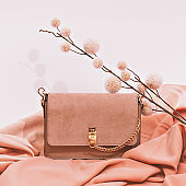 Fashion accessories clutch. Still life Minimal. Fall winter plant decor. Stylish autumn, winter clothes shopping, sale concept, White and beige colours trends