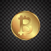 Bitcoin. Physical bit coin. Digital currency. Cryptocurrency. Golden coin with bitcoin symbol isolated on transparent background. Icon for concept design. Vector illustration.