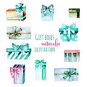 Set of watercolor mint and green gift boxes, hand painted isolated on a white background