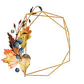 Geometric golden frame with watercolor autumn tree leaves, forest berries and feathers; hand painted illustration on a white background for invitation, greeting card