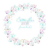 Round frame, wreath with watercolor tender butterflies, hand drawn on a white background,  invitation, greeting card, wedding design