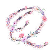 Capital letter Q of watercolor pink and purple flowers, isolated hand drawn on a white background, wedding design, english alphabet for the festive and wedding decor and cards