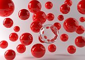 Glass Sphere with glossy red spheres flying 3d Render