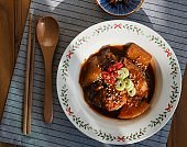 Korean food mackerel soy sauce stew