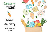 Poster with grocery and farm vegetables in a paper bag on a white background. Template. Horizontally.