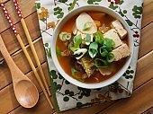 Korean food kimchi potato tofu soup