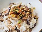 Korean food fried eggplant bibimbap