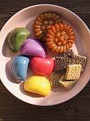 Korean food Songpyeon, half-moon-shaped rice cake, SweetRicePuffs, Honey Cookie