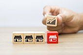 Franchise business concepts. Cube wooden toy blog with franchise marketing store icon and hand choosing graph icon in behind for business growth and Organizational management.