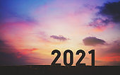 New year 2021 with sunset sky background