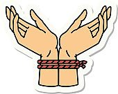 tattoo style sticker of a pair of tied hands