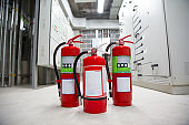 Fire extinguisher in fire control room for fire prevention, emergency, rescue and safety Concept.
