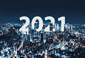 New year 2021 Network and Connection city of Japan