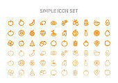 Fruit icon set, outline style.