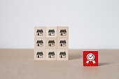 Franchise business. a cube shape wooden toy blog stacked with Quality symbol and franchise marketing icons store of business growth and Organizational management concept.