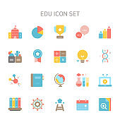 Vector illustration of education icons for education, school, book, learning, trophy, announcement, consultation, inquiry, pencil, chemistry, notebook, virtual space, bookcase, library.