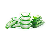 Slices of fresh aloe vera plant stacked and aloe vera stalk or leaves with water dropping