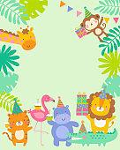 Cute safari animals cartoon illustration