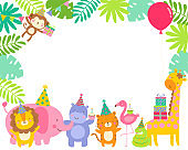 Cute safari animals cartoon border illustration