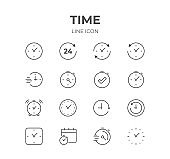 Time & Clock Line Icons Set