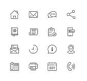 Contact Line Icons Set. Editable Stroke