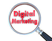 Advertising concept: Digital Marketing with optical glass