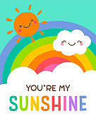 Cute cloud, sun and rainbow background