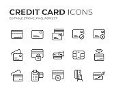Credit Card Line Icons Set