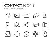 Contact Line Icons Set