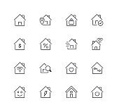 Home Line Icons Set. Editable Stroke