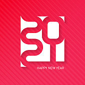 Happy New Year 2021. Vector brochure design template. Cover of business diary for 20 21. Vector greeting card with halftone gradient.