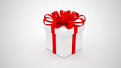 White gift box with red ribbon on white background. Merry Christmas and Happy New Year concept. 3D rendering illustration