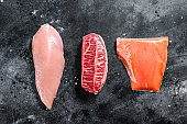 Different types of raw meat. Beef top blade, salmon fillet and Turkey breast. Black background. Top view