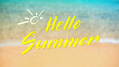 Hello summer. Calligraphy lettering on tropical seashore background. Top view, close up. Blurred vector background. Defocused sea surf line, soft wave and sand