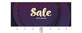Billboard with volumetric text Sale on luxury paper cut background with golden pattern. 3d lettering, vector illustration, eps10. Geometric shapes, modern minimal banner.