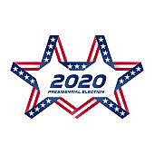 Presidential election 2020 in USA. Start of Political election campaign. Unusual Stylized star with american flag colors and symbols. Election voting poster. Vector.