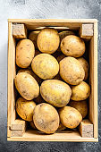 Raw Potatoes in an old wooden box on a table.  Gray background. Top view