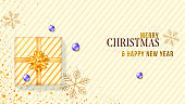 Banner for Christmas holidays. Xmas background with gift box, golden snowflakes.. Vector 3d illustration. Flat lay view. Horizontal christmas greeting card.