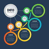 Business presentation or infographics concept with 4 steps. Diagram. Info graphic of technology or education process with four options. Segmented Annual report.