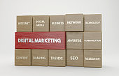 3D wooden cubes and Digital Marketing concept.