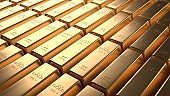 Closeup shiny gold bar arrangement in a row. Business Gold future and financial concept. 3D illustration rendering. World economics and currency exchange. Money trade and safe haven marketplace