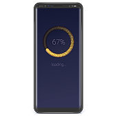 Realistic smart phone with load or download bar on screen. Black background, night version gold gradient. Vector template for smartphone X sizes.