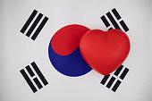 I love South Korea. Heart on the flag of South Korea.