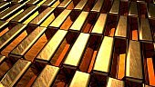 Group of many shiny gold bar arrangement in a row. Business Gold future and financial concept. 3D illustration rendering. World economics and currency exchange. Money trade and safe haven marketplace