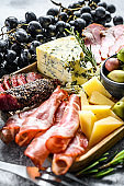antipasto various appetizer, cutting board with prosciutto, salami, coppa, cheese and olives. Gray background. Top view