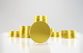 Gold coins stacked in a row. Making Money concept.