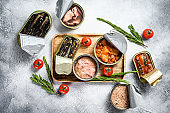 Seafood snacks - canned sardines, mussels, octopus, salmon and tuna. Gray background. Top view